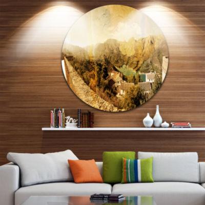 Design Art Mountain and Lofty Lake Landscape PhotoCircle Metal Wall Art