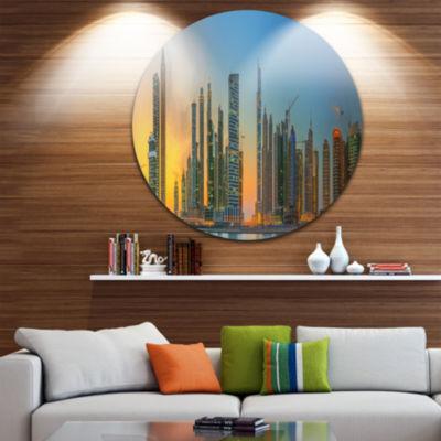 Design Art Business Bay and Downtown Dubai Ultra Vibrant Cityscape Metal Circle Wall Art