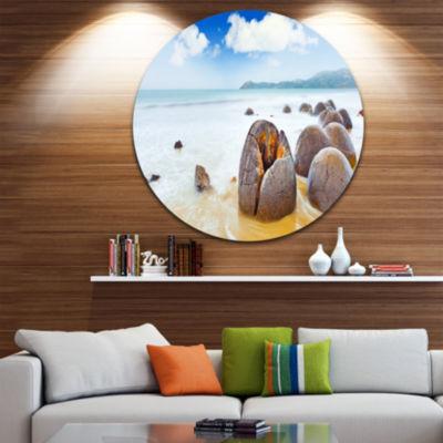 Design Art Midday Moeraki Boulders Seashore PhotoCircle Metal Wall Art