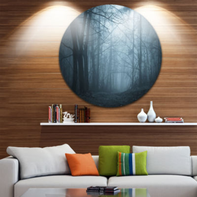 Design Art Darkness in Forest with Fog Circle Landscape Circle Metal Wall Art