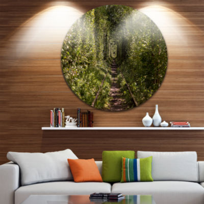 Design Art Tree Rail Tunnel in Forest Landscape Photo Circle Metal Wall Art
