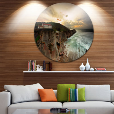 Design Art Ocean Hitting Rocky Hill Seashore PhotoCircle Metal Wall Art
