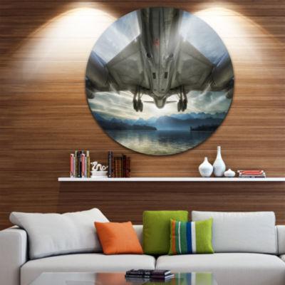 Design Art Plane Over Beach and Sea Seashore Photography Circle Metal Wall Art