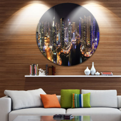 Design Art Dubai Marina View at Night Ultra Vibrant Cityscape Metal Circle Wall Art