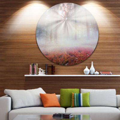 Design Art Sun Rays Illuminating Foggy Forest Ultra Vibrant Landscape Oversized Circle Wall Art
