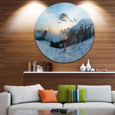 Design Art Morning Winter Carpathian Mountains Ultra Vibrant Landscape Metal Circle Wall Art