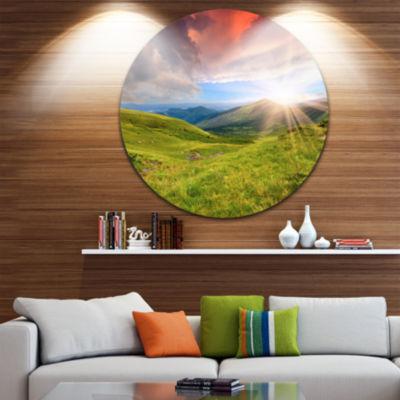 Design Art Green Summer in Carpathians Landscape Photo Circle Metal Wall Art