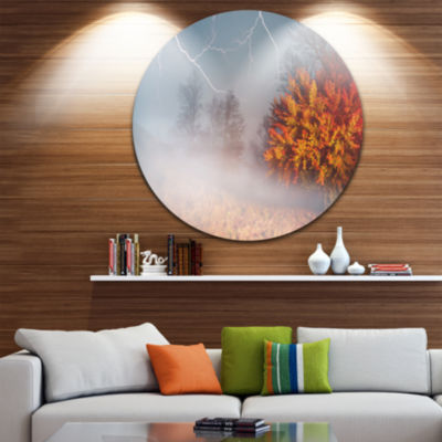 Design Art Storm and Lighting in Autumn Forest Landscape Photography Circle Metal Wall Art