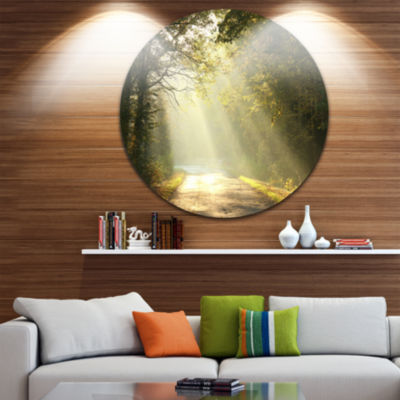 Design Art Bright Sunbeams to Fall Forest Ultra Vibrant Landscape Oversized Circle Wall Art