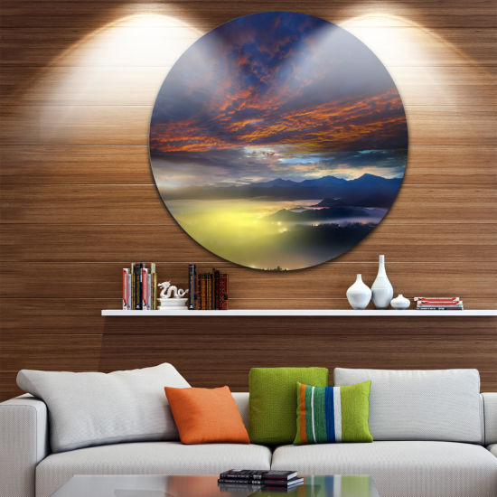 Design Art Yellow Sunlight and Fiery Clouds Landscape Photography Circle Metal Wall Art