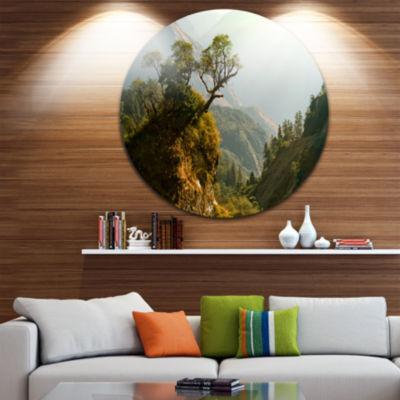 Design Art Enchanted Nepal Mountains Landscape Photography Circle Metal Wall Art