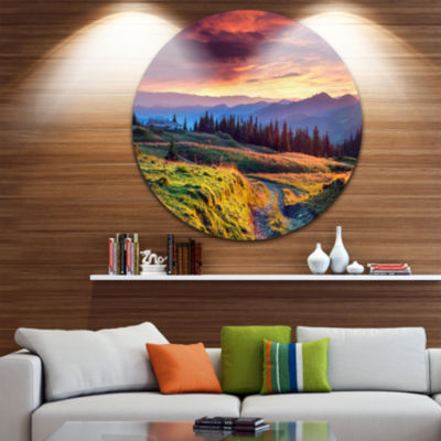 Design Art Green Land Under Overcast Sky LandscapePhotography Circle Metal Wall Art