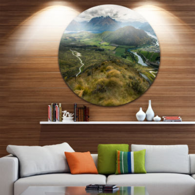 Design Art Fields and Hills in New Zealand Landscape Photography Circle Metal Wall Art