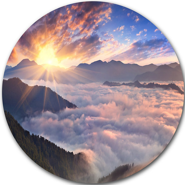 Design Art Bright Sun in Misty Mountains LandscapePhotography Circle Metal Wall Art