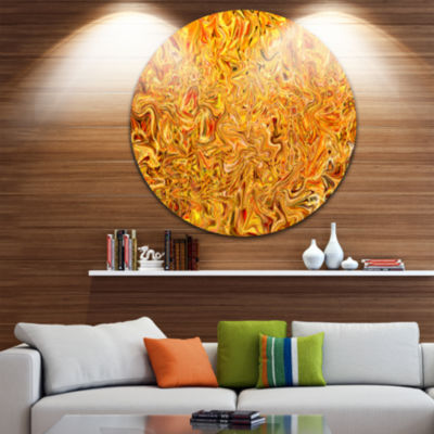 Design Art Textured Flowing Yellow Abstract CircleMetal Wall Art