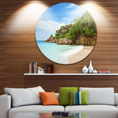 Design Art Resorts on the Rock Ultra Vibrant Seascape Metal Circle Wall Art