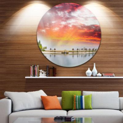 Design Art Roatan Beach Sunset Panorama Seashore Photo Circle Metal Wall Art