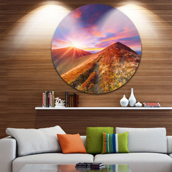 Design Art Colorful Grass and Clouds Landscape Photography Circle Metal Wall Art