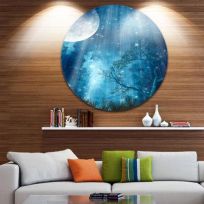 Design Art Big Moon in Blue Forest Landscape Circle Metal Wall Art
