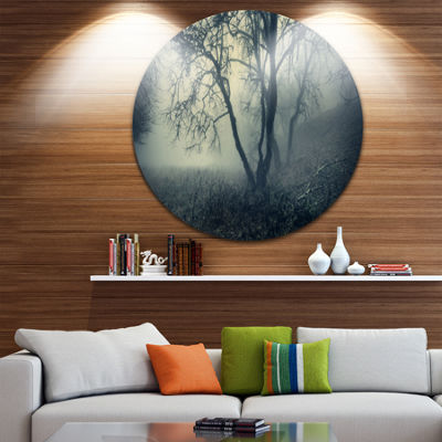 Design Art Forest with Green Fog in Morning Landscape Photography Circle Metal Wall Art