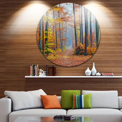 Design Art Orange Green Fall Leaves in Forest Landscape Photography Circle Metal Wall Art