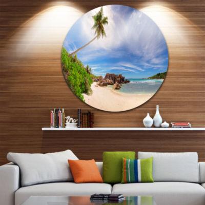 Design Art Beautiful Beach at La Digue SeychellesUltra Vibrant Large Seashore Metal Circle Wall Art