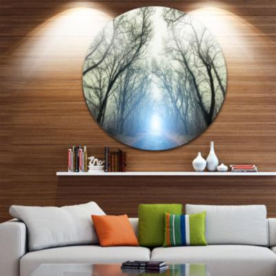 Design Art Blue Light in Foggy Autumn Landscape Photo Circle Metal Wall Art