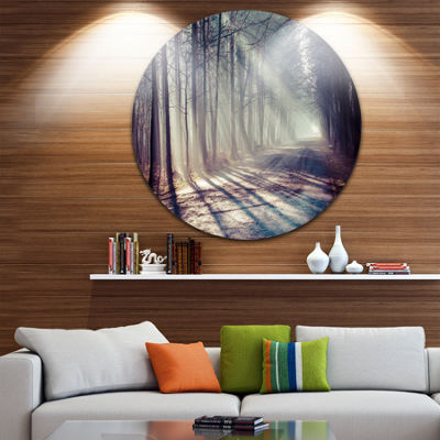 Design Art Morning Sunbeams to Forest Road Landscape Photography Circle Metal Wall Art