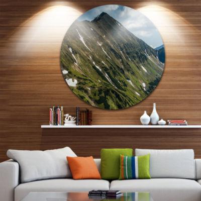 Design Art Tatra Mountains Panoramic View Ultra Vibrant Landscape Metal Circle Wall Art
