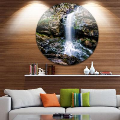 Design Art Waterfall in Sofia Bulgaria Ultra Vibrant Landscape Metal Circle Wall Art
