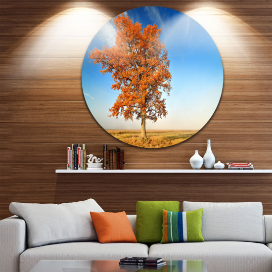Design Art Colorful Lonely Fall Tree Circle Landscape Circle Metal Wall Art