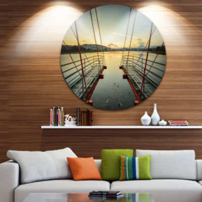 Design Art Wooden Piers for Boats in Spain Seashore Photo Circle Metal Wall Art