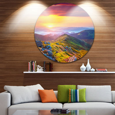 Design Art Rhododendron Flowers in Colorful HillsLandscape Photography Circle Metal Wall Art