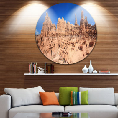 Design Art Hoodoo Rock Pinnacles in Goblin ValleyUltra Vibrant Landscape Metal Circle Wall Art