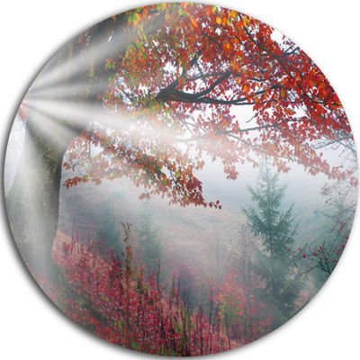 Design Art Silver Rays of Sun After Storm Landscape Photography Circle Metal Wall Art