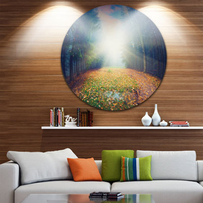 Design Art Rising Sun Over Arched Forest LandscapePhoto Circle Metal Wall Art