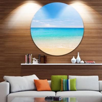 Design Art Bright Blue Tropical Beach Seashore Photo Circle Metal Wall Art
