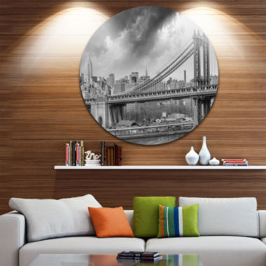 Design Art Gray Manhattan Skyline Cityscape Photography Circle Metal Wall Art