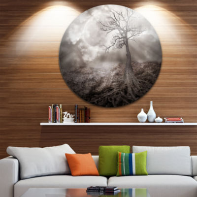 Design Art Lonely Tree Holding the Moon LandscapeCircle Metal Wall Art
