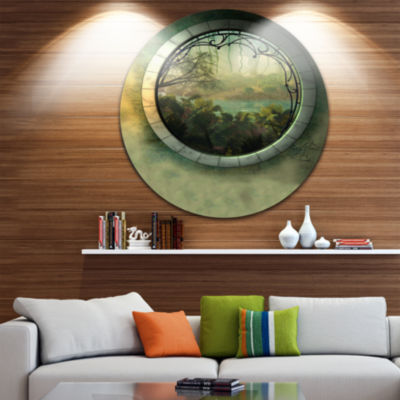 Design Art Green Fantasy Landscape with Frame Photography Circle Metal Wall Art