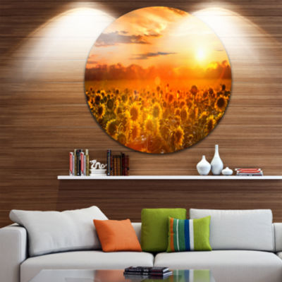 Design Art Yellow Sunset over Sunflowers Floral Photography Circle Metal Wall Art