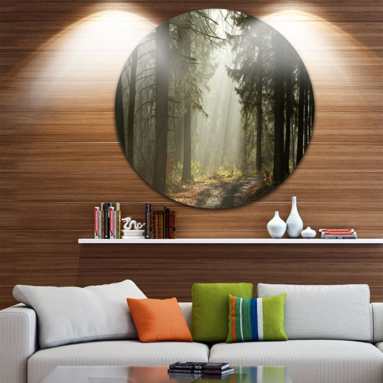 Design Art Dark Green Forest with Sun Rays CircleLandscape Circle Metal Wall Art