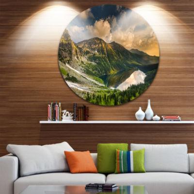 Design Art Dramatic Sky over Alpine Lake Ultra Vibrant Landscape Metal Circle Wall Art