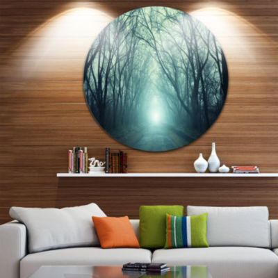 Design Art Fall Forest Path with Green Light Landscape Photography Circle Metal Wall Art