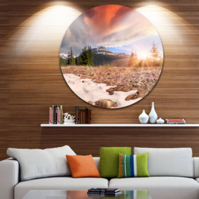 Design Art Blooming Crocuses in Mountains Landscape Photography Circle Metal Wall Art