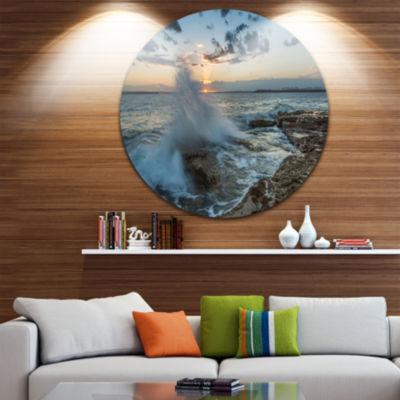 Design Art Sunset at Sydney Seashore Ultra VibrantSeascape Oversized Circle Wall Art