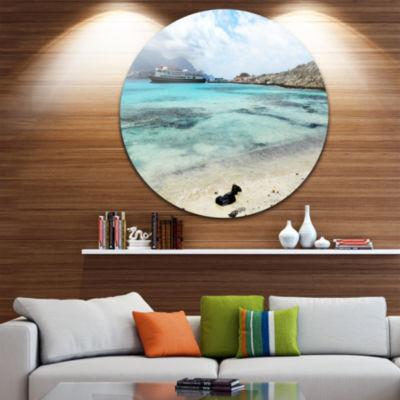 Design Art Blue Crete Island in Greece Ultra Vibrant Seascape Metal Circle Wall Art