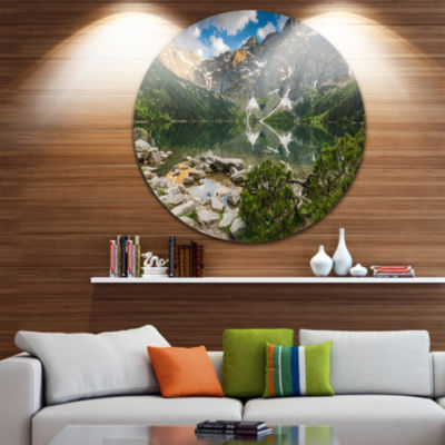 Design Art Sunset Over High Mountains Ultra Vibrant Landscape Metal Circle Wall Art