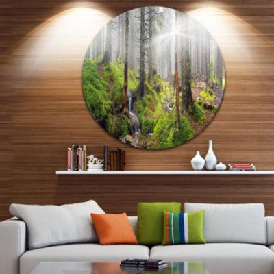 Design Art Bright Green Carpathian Forest Landscape Oversized Circle Wall Art