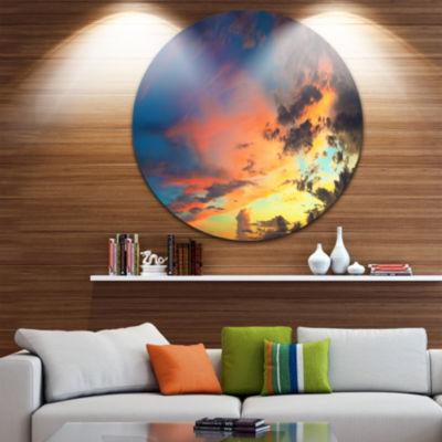 Design Art Cloudy Sky at Sunset Panorama Skyline Photography Circle Metal Wall Art